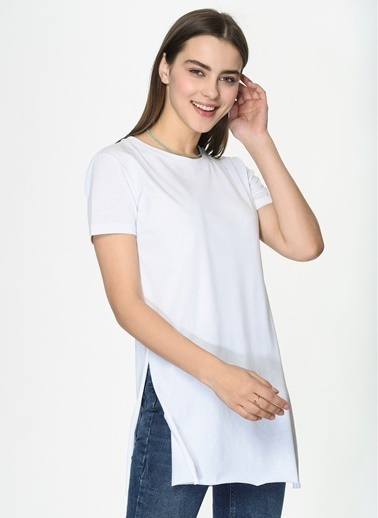 Loves You Yırtmaçlı Basic T-Shirt Beyaz